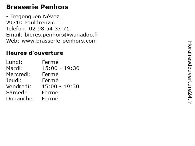 Brasserie Penhors à Pouldreuzic: adresse et heures d'ouverture
