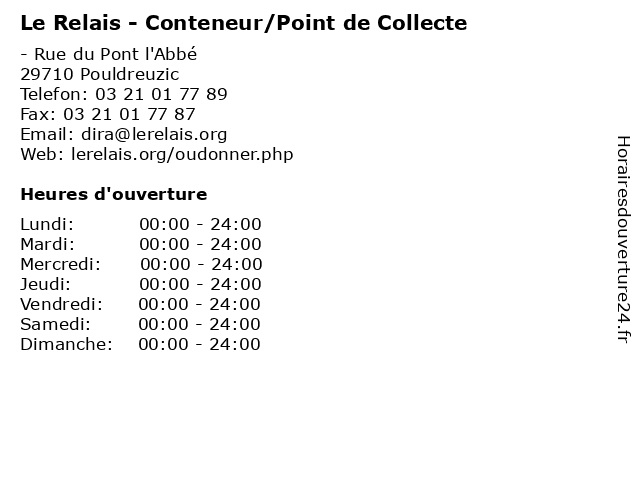 Le Relais - Conteneur/Point de Collecte à Pouldreuzic: adresse et heures d'ouverture