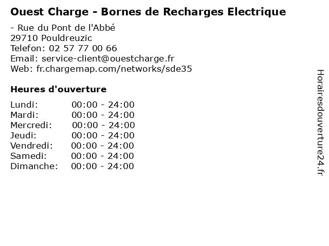 Ouest Charge - Bornes de Recharges Electrique à Pouldreuzic: adresse et heures d'ouverture