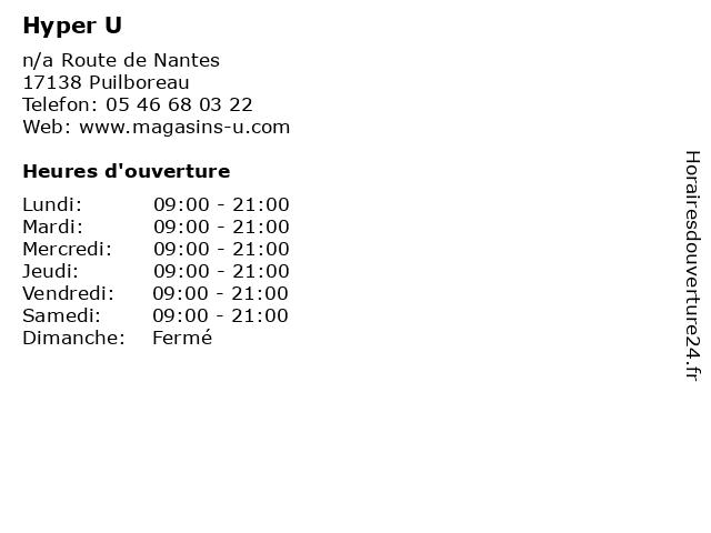 Hyper U à Puilboreau: adresse et heures d'ouverture