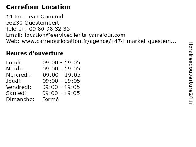 Carrefour Location Market à QUESTEMBERT: adresse et heures d'ouverture