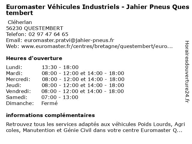 Euromaster à QUESTEMBERT: adresse et heures d'ouverture