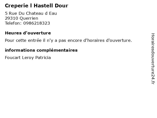 Creperie l Hastell Dour à Querrien: adresse et heures d'ouverture