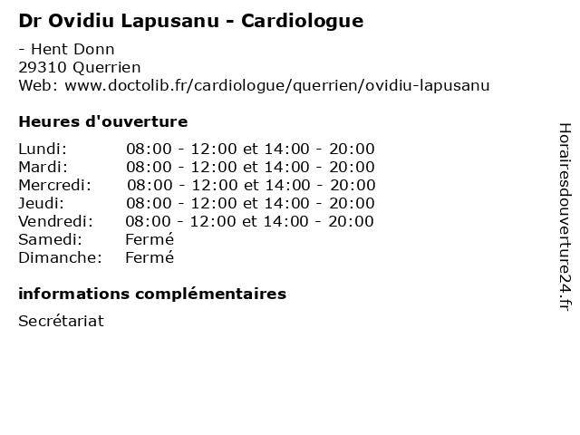 Dr Ovidiu Lapusanu - Cardiologue à Querrien: adresse et heures d'ouverture