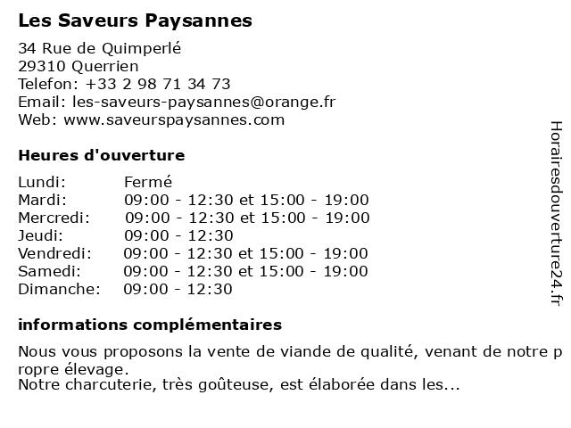 Les Saveurs Paysannes à Querrien: adresse et heures d'ouverture