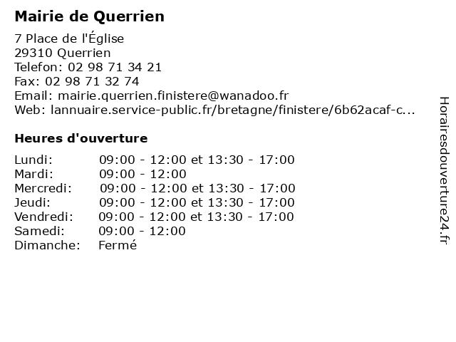 Mairie de Querrien à Querrien: adresse et heures d'ouverture