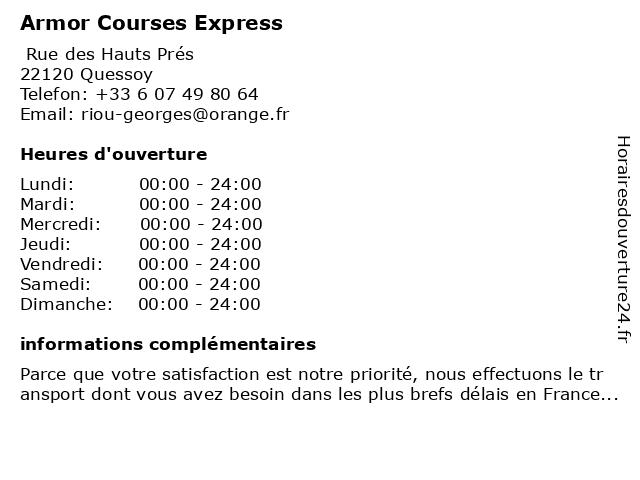 Armor Courses Express à Quessoy: adresse et heures d'ouverture