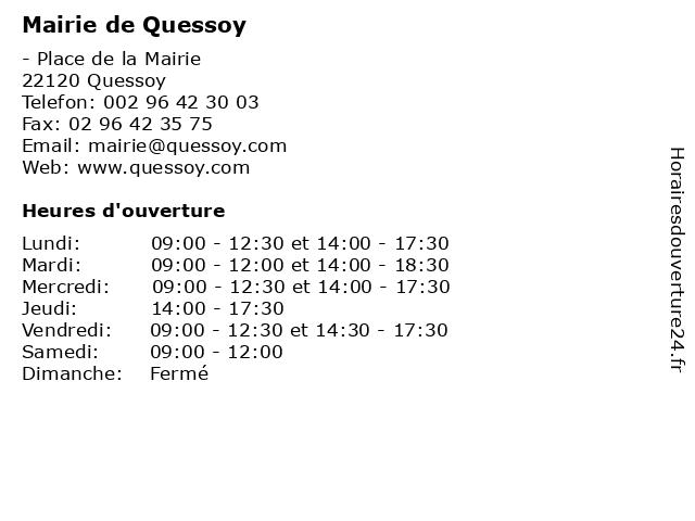 Mairie de Quessoy à Quessoy: adresse et heures d'ouverture