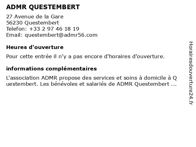 ADMR QUESTEMBERT à Questembert: adresse et heures d'ouverture