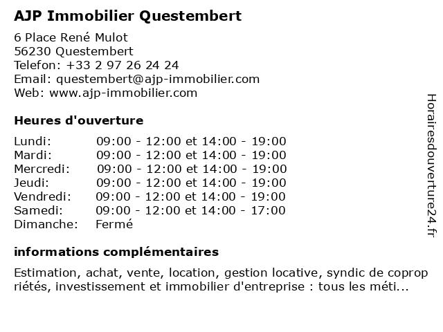 AJP Immobilier Questembert à Questembert: adresse et heures d'ouverture