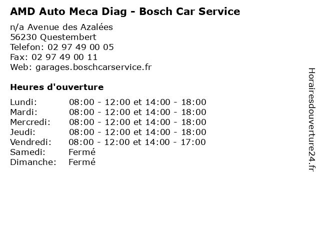 AMD Auto Meca Diag - Bosch Car Service à Questembert: adresse et heures d'ouverture