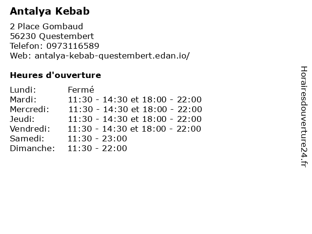 Antalya Kebab à Questembert: adresse et heures d'ouverture
