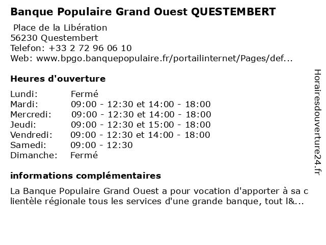Banque Populaire Grand Ouest QUESTEMBERT à Questembert: adresse et heures d'ouverture