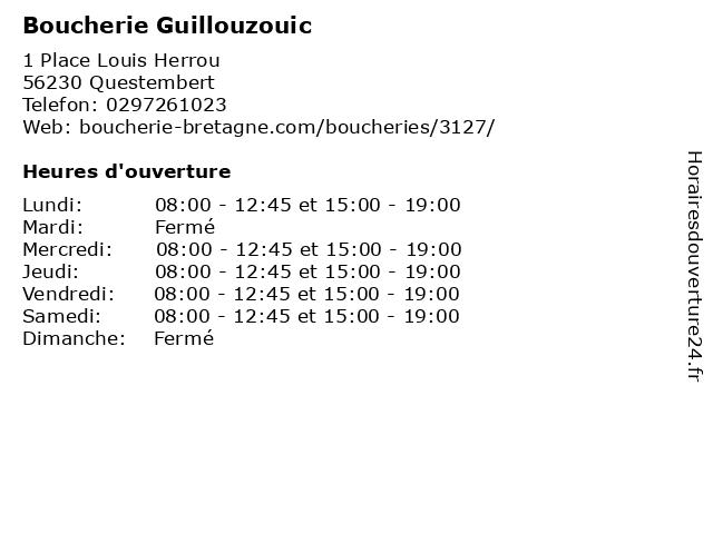Boucherie-Charcuterie Challier à Questembert: adresse et heures d'ouverture