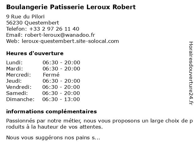 Boulangerie Patisserie Leroux Robert à Questembert: adresse et heures d'ouverture