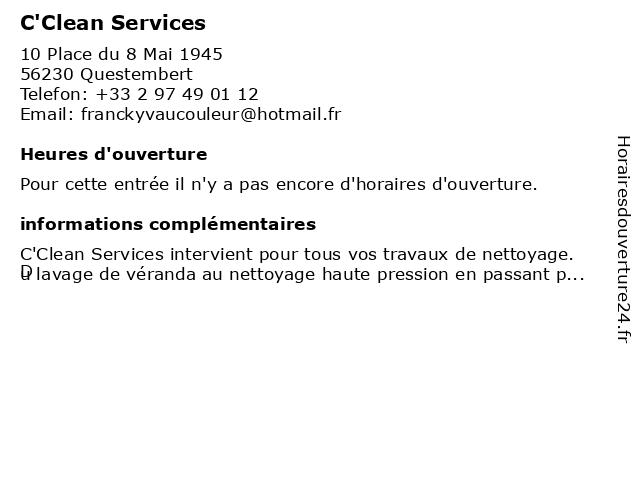 C'Clean Services à Questembert: adresse et heures d'ouverture