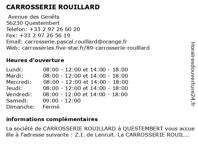 CARROSSERIE ROUILLARD à Questembert: adresse et heures d'ouverture