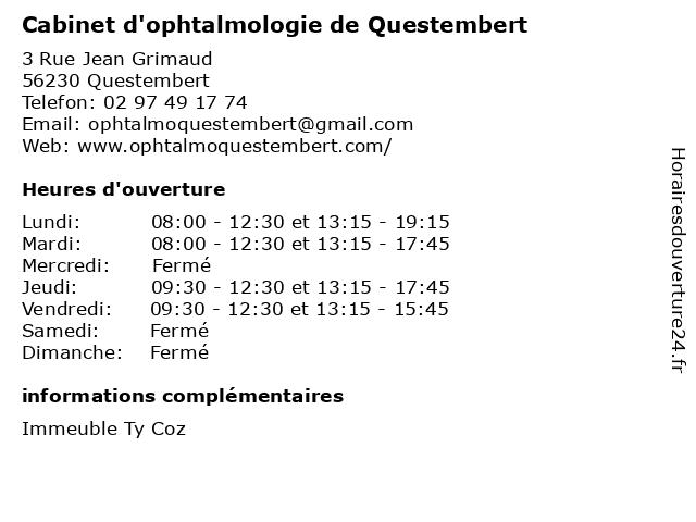 Cabinet d'ophtalmologie de Questembert à Questembert: adresse et heures d'ouverture