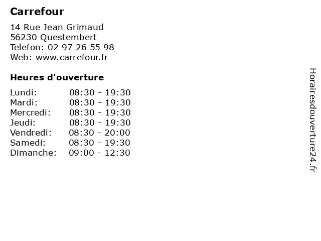 Carrefour à Questembert: adresse et heures d'ouverture