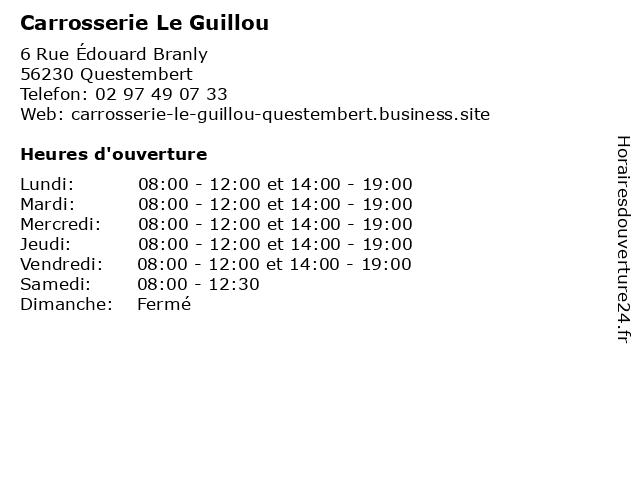 Carrosserie Le Guillou à Questembert: adresse et heures d'ouverture