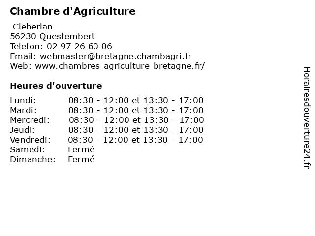 Chambre d'Agriculture à Questembert: adresse et heures d'ouverture