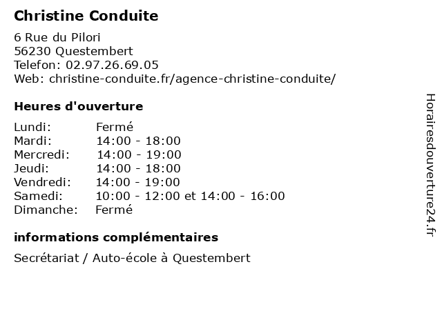 Christine Conduite à Questembert: adresse et heures d'ouverture