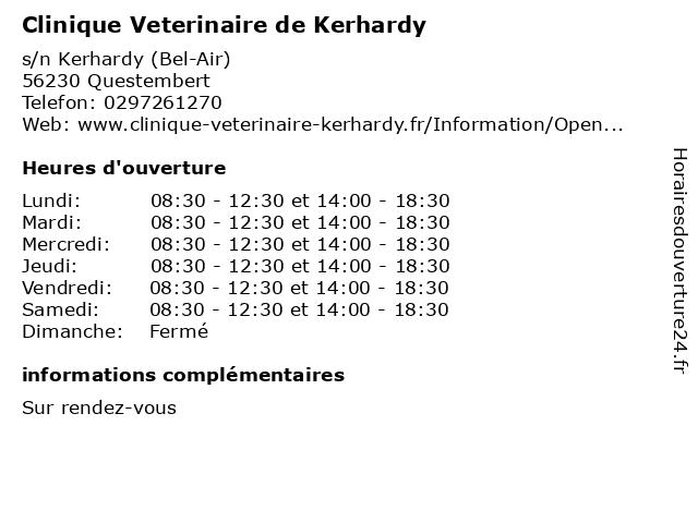Clinique Veterinaire de Kerhardy à Questembert: adresse et heures d'ouverture