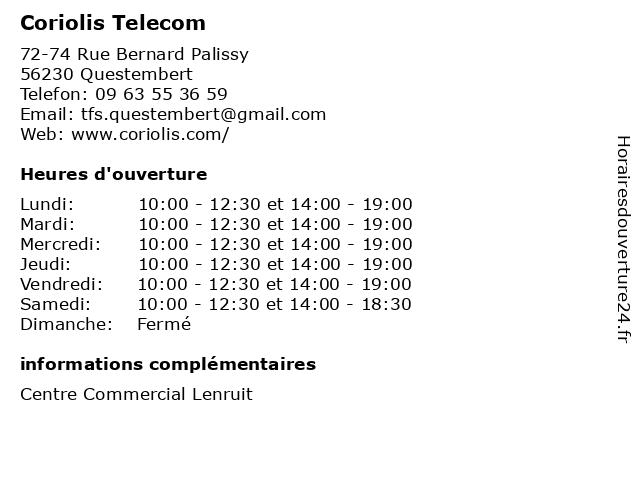 Coriolis Telecom à Questembert: adresse et heures d'ouverture