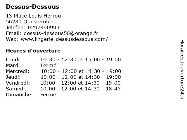 Dessus-Dessous à Questembert: adresse et heures d'ouverture