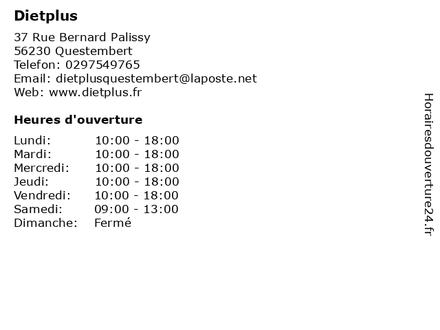 Dietplus à Questembert: adresse et heures d'ouverture
