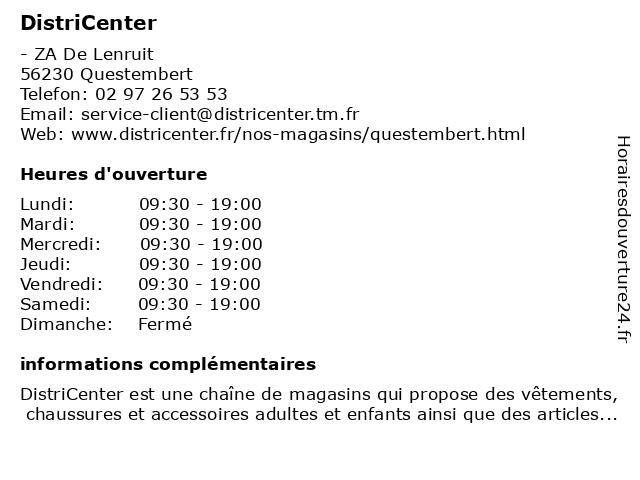 Distri Center à Questembert: adresse et heures d'ouverture