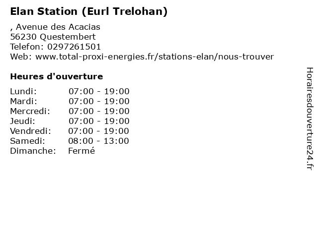 Elan Station (Eurl Trelohan) à Questembert: adresse et heures d'ouverture