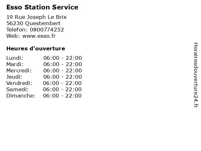 Esso Station Service à Questembert: adresse et heures d'ouverture