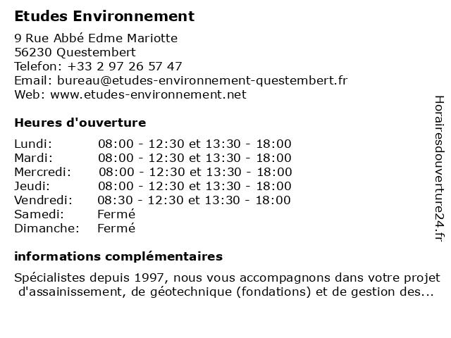 Etudes Environnement à Questembert: adresse et heures d'ouverture