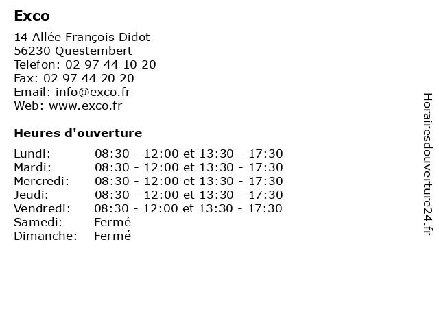 Exco à Questembert: adresse et heures d'ouverture