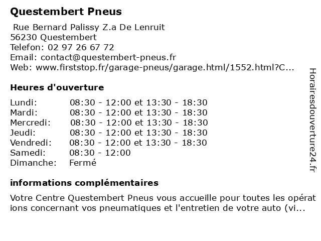 First Stop - Questembert Pneus à Questembert: adresse et heures d'ouverture