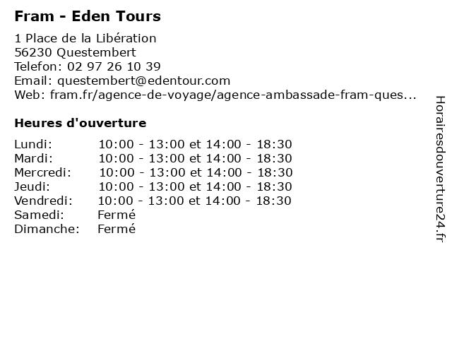 Fram Voyages à Questembert: adresse et heures d'ouverture