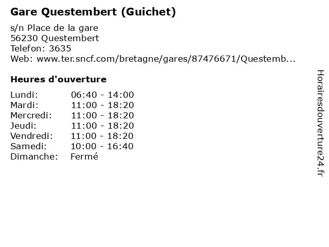 Gare Questembert (Guichet) à Questembert: adresse et heures d'ouverture