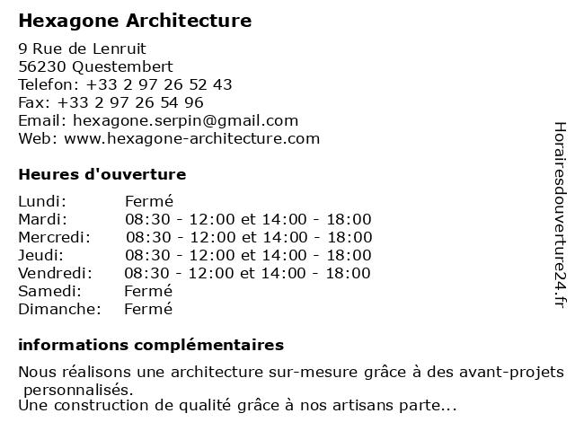 Hexagone Architecture à Questembert: adresse et heures d'ouverture