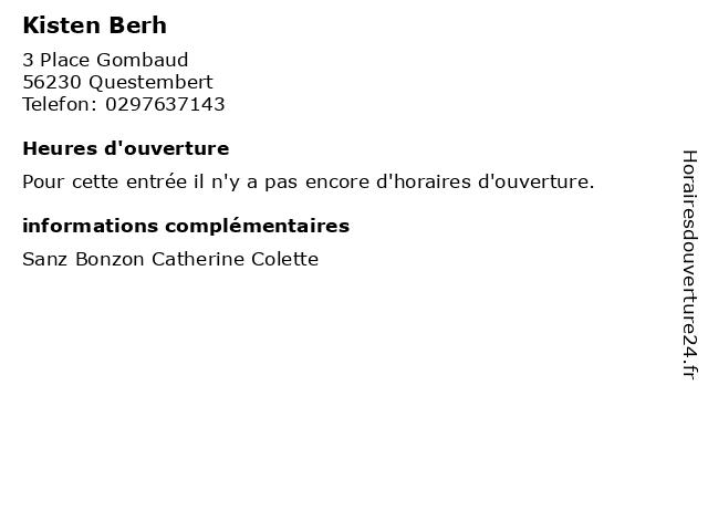 Kisten Berh à Questembert: adresse et heures d'ouverture