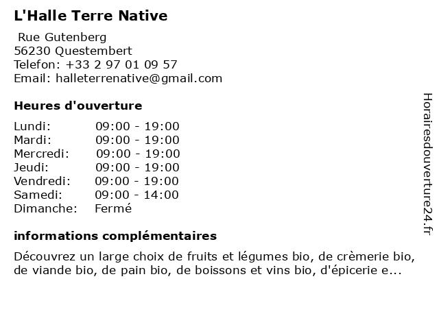 L'Halle Terre Native à Questembert: adresse et heures d'ouverture