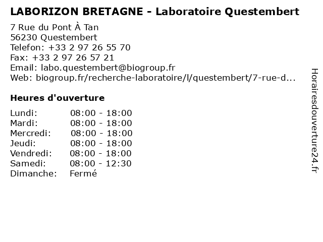 LABORIZON BRETAGNE - Laboratoire Questembert à Questembert: adresse et heures d'ouverture