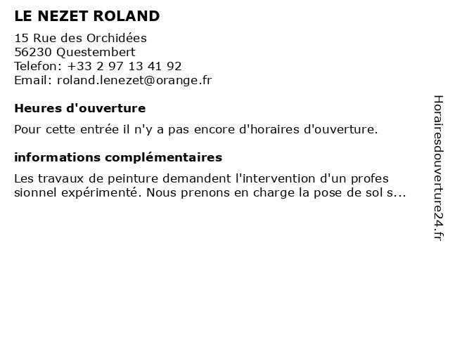 LE NEZET ROLAND à Questembert: adresse et heures d'ouverture