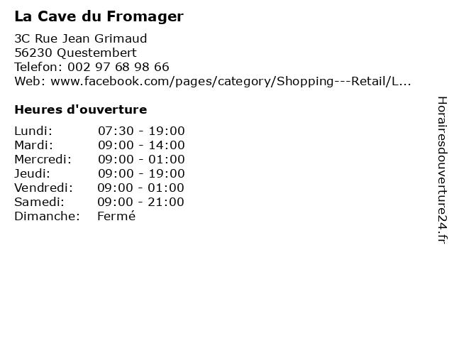 La Cave du Fromager à Questembert: adresse et heures d'ouverture