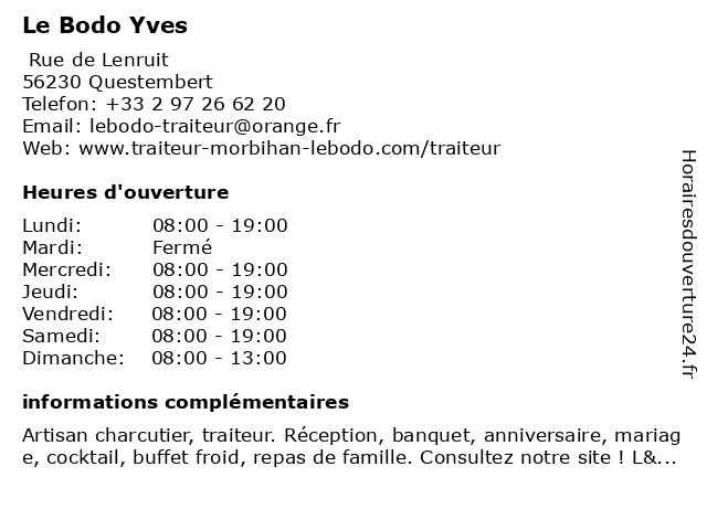 Le Bodo Yves à Questembert: adresse et heures d'ouverture