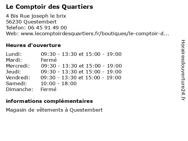 Le Comptoir des Quartiers à Questembert: adresse et heures d'ouverture