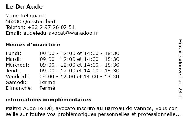Le Du Aude à Questembert: adresse et heures d'ouverture
