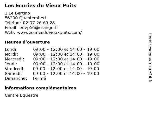 Les Ecuries du Vieux Puits à Questembert: adresse et heures d'ouverture