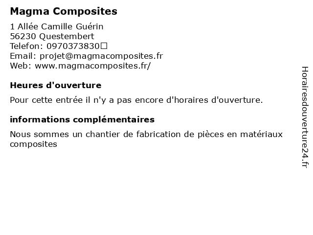 Magma Composites à Questembert: adresse et heures d'ouverture