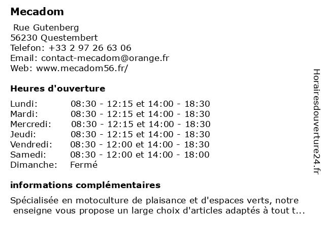Mecadom à Questembert: adresse et heures d'ouverture